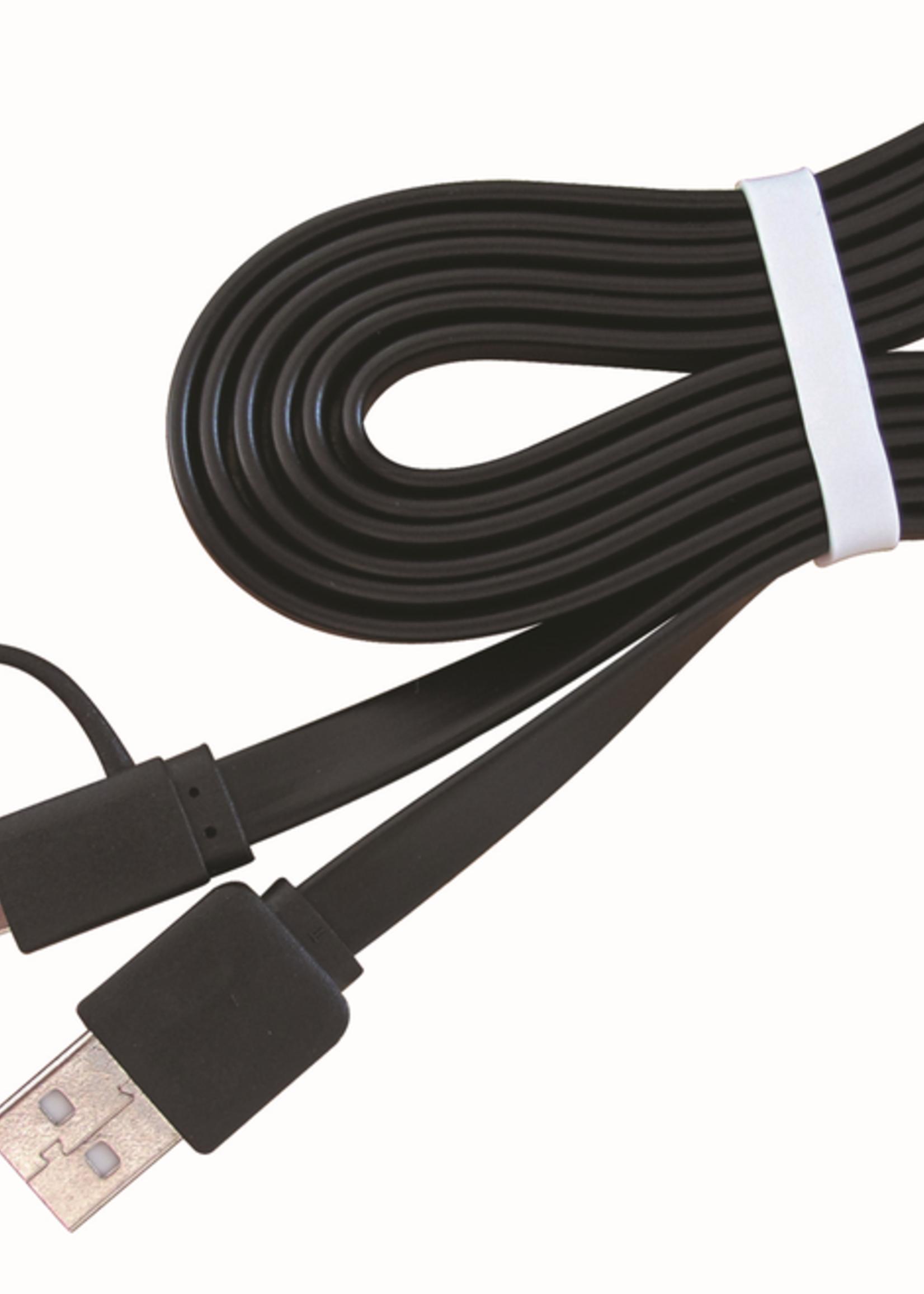 CableXpert USB oplaadkabel 2-in-1 zwart 1 meter