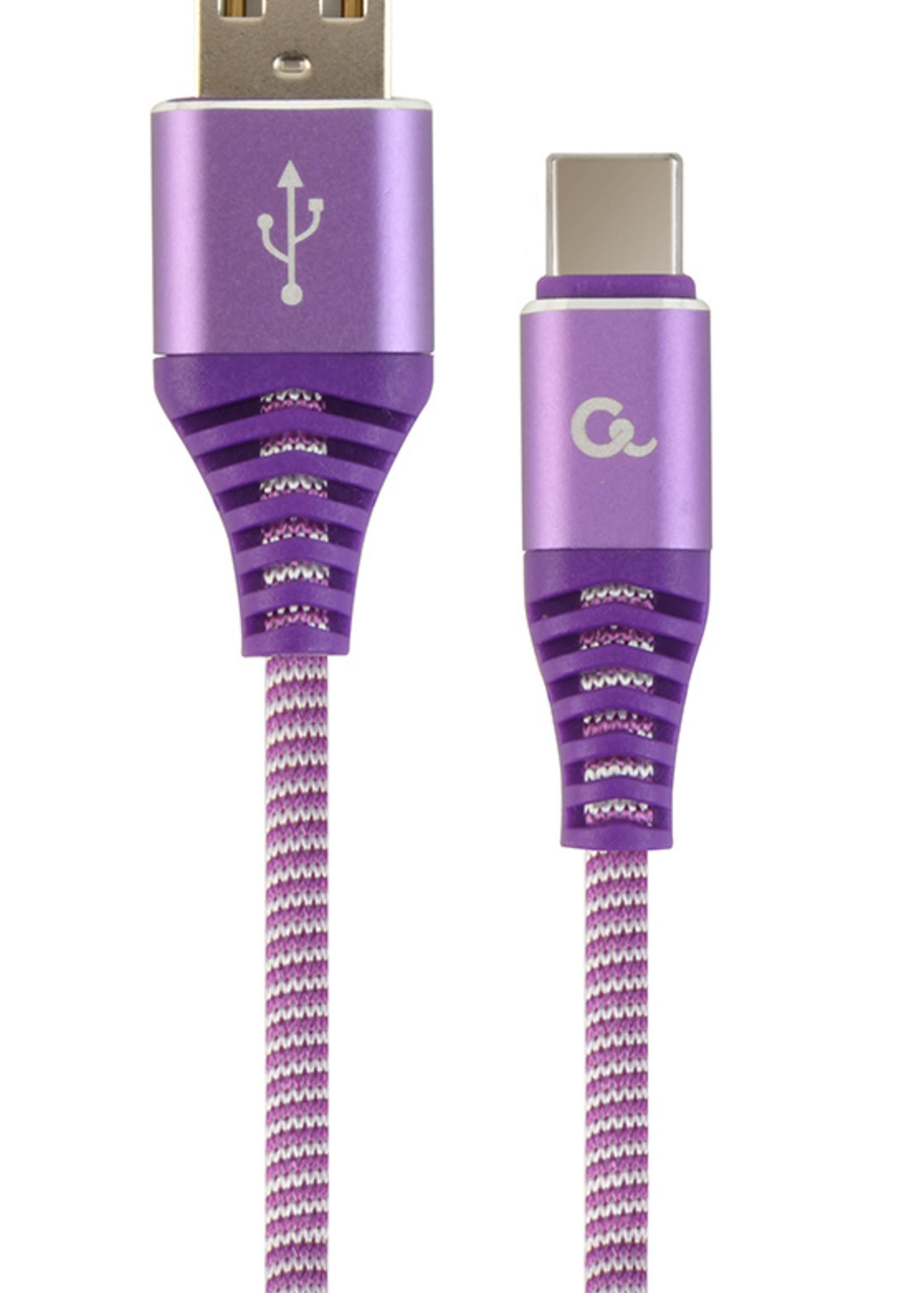 CableXpert Premium USB Type-C laad- & datakabel 'katoen', 1 m, paars/wit