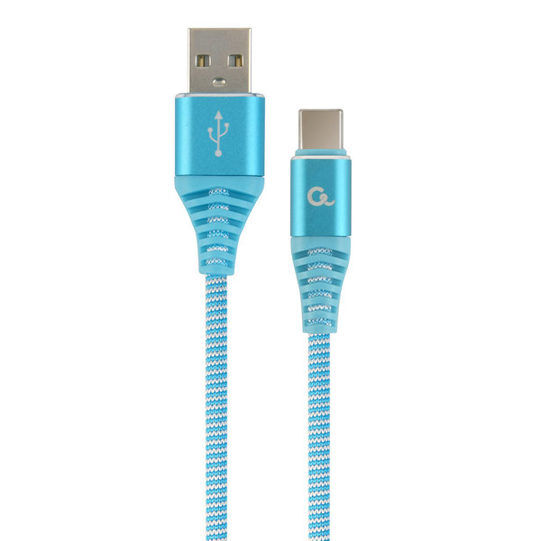 CableXpert Premium USB Type-C laad- & datakabel 'katoen', 1 m, turquoise/wit