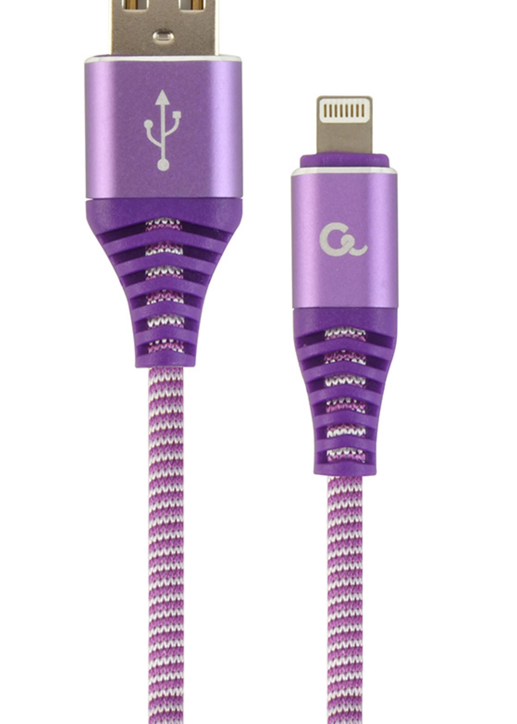 CableXpert Premium 8-pin laad- & datakabel 'katoen', 2 m, paars/wit