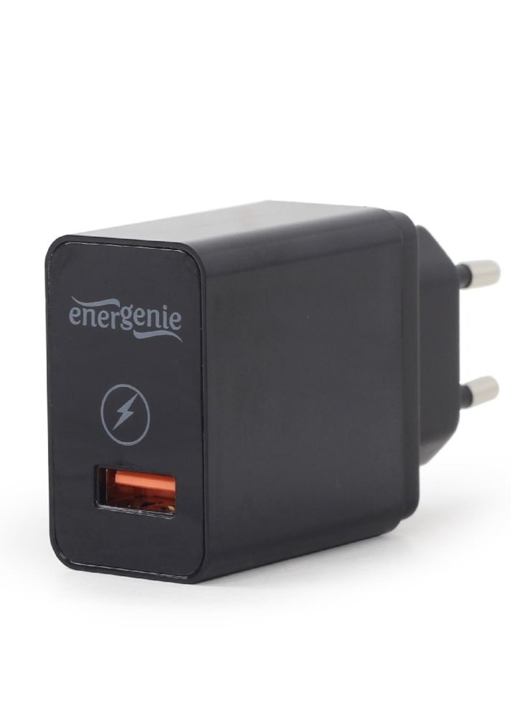 EnerGenie USB snellader QC3.0 zwart 1-poort