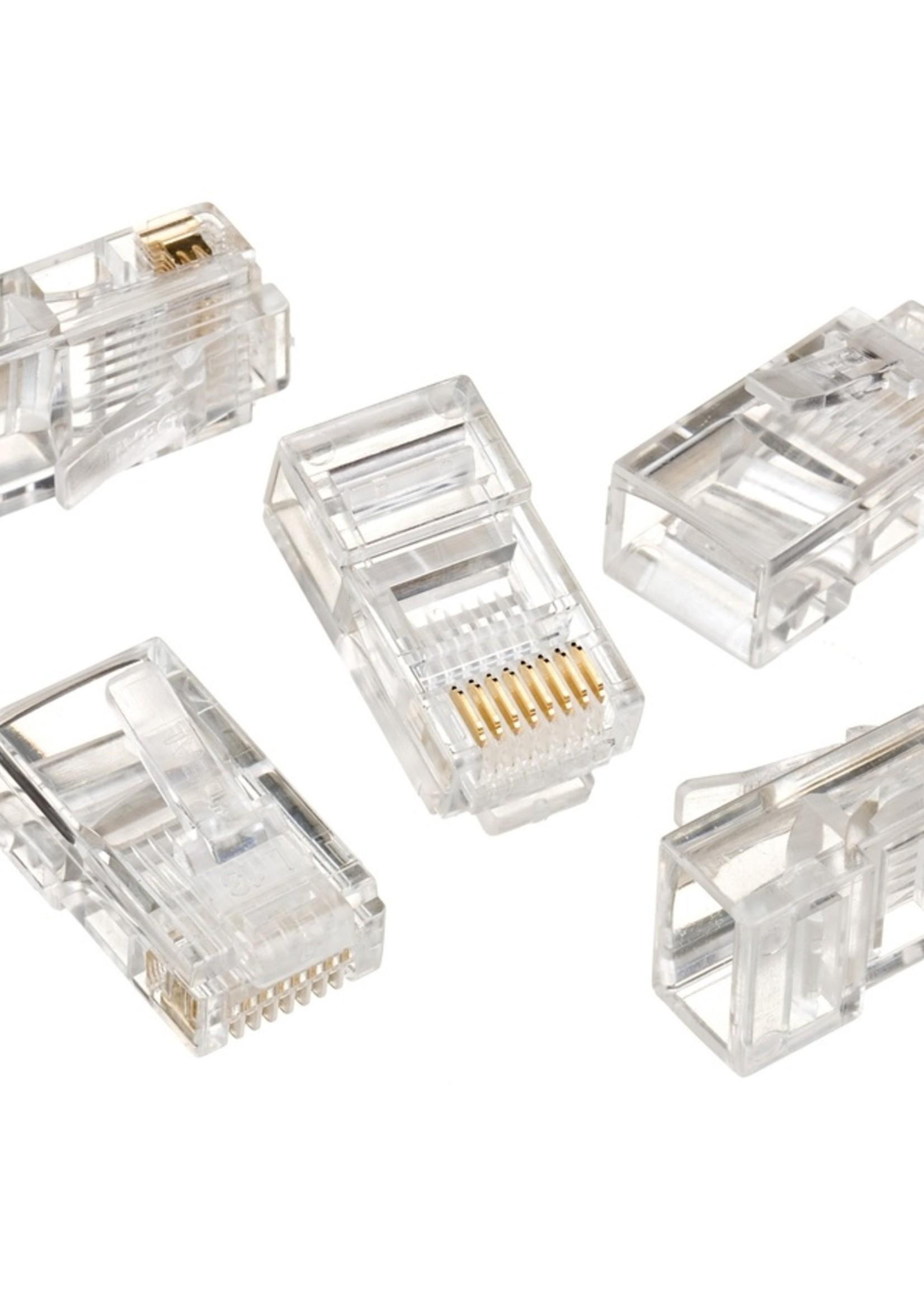 No-name UTP connector 8-pins 8P8C (RJ45) voor CAT5, 50 stuks