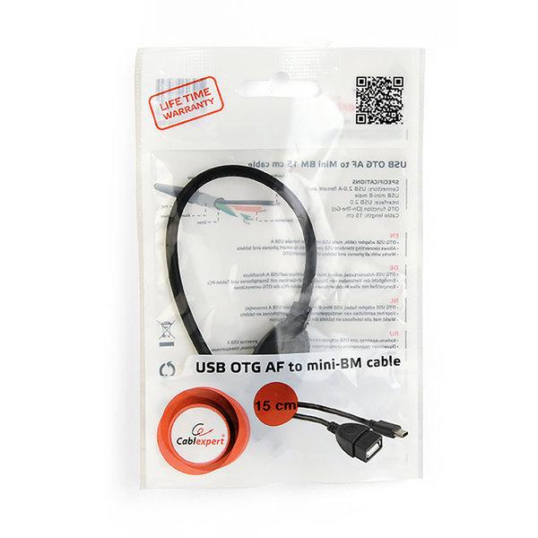 CableXpert USB OTG-kabel, mini USB, 15 cm