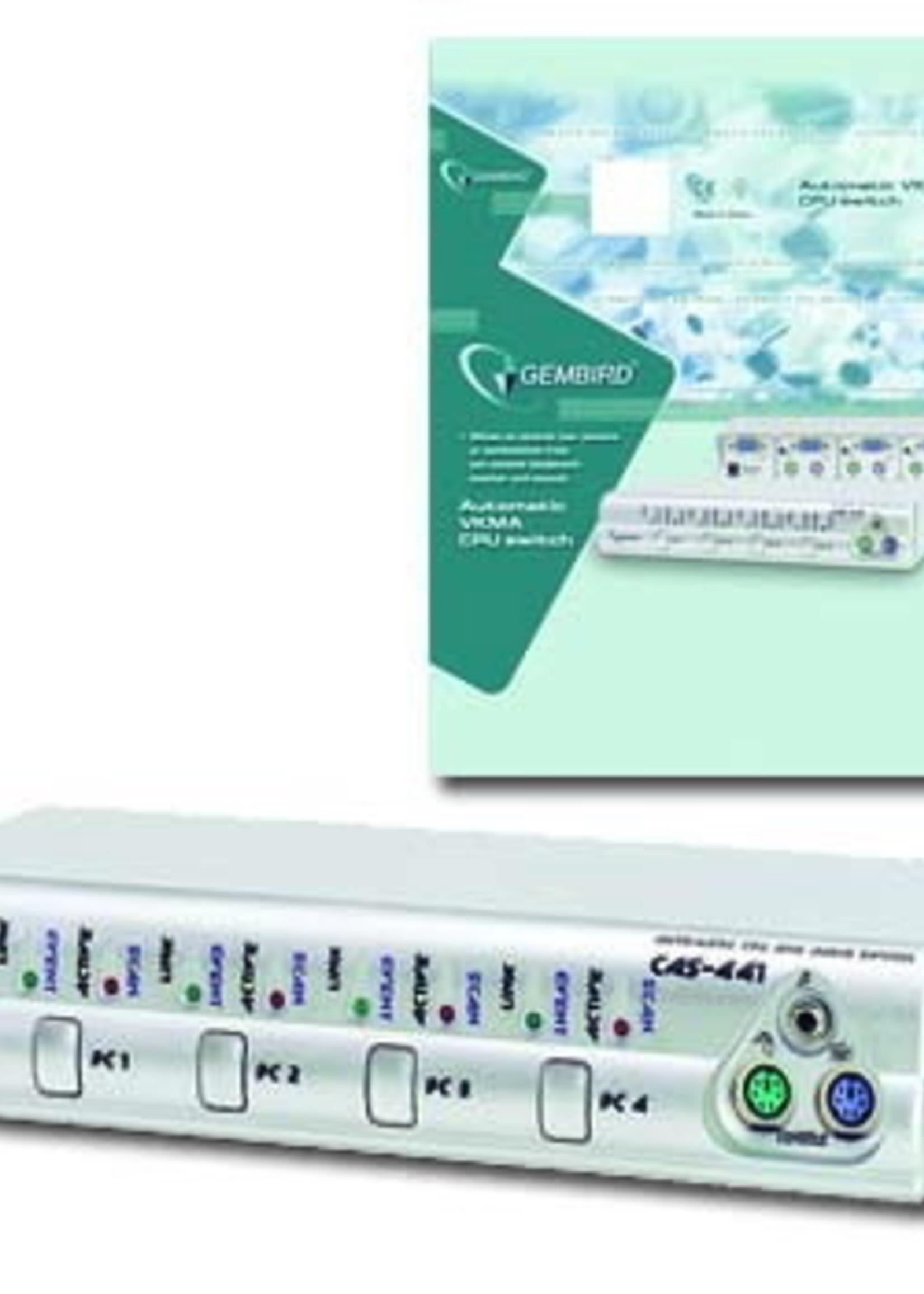 Gembird CAS-441 Automatische  CPU en audio switch, 4 PCs