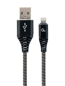 CableXpert Premium 8-pin laad- & datakabel 'katoen', 1 m, zwart/wit