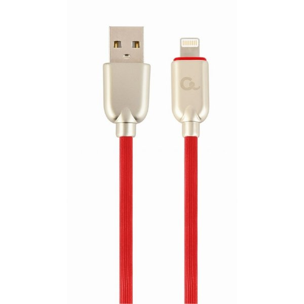 CableXpert Premium 8-pin laad- & datakabel 'rubber', 2 m, rood