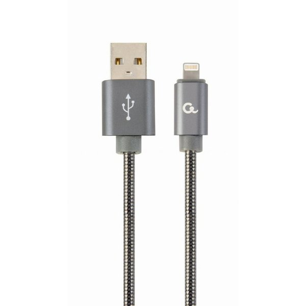 CableXpert Premium 8-pin laad- & datakabel 'metaal', 1 m, metallic-grijs
