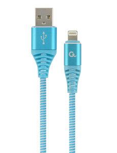CableXpert Premium 8-pin laad- & datakabel 'katoen', 1 m, turquoise/wit