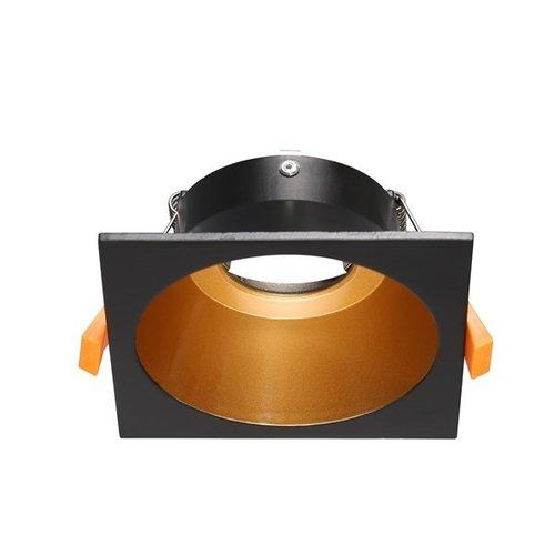 Inbouwspot zwart goud vierkant GU10 100mm diameter