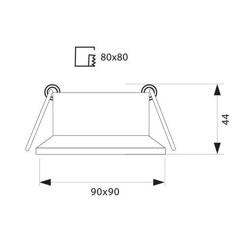 Spot vierkant wit diep GU10 zaagmaat 80x80mm