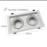 Dubbele inbouwspot wit 2xGU10 zaagmaat 110x200mm 360° kantelbaar