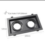 Inbouwspot dubbel zwart 2xGU10 zaagmaat 110x200mm