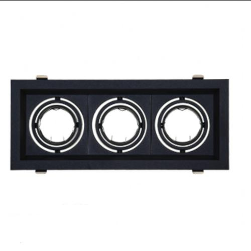 Inbouwspot rechthoek 3xGU10 zwart zaagmaat 300x100mm