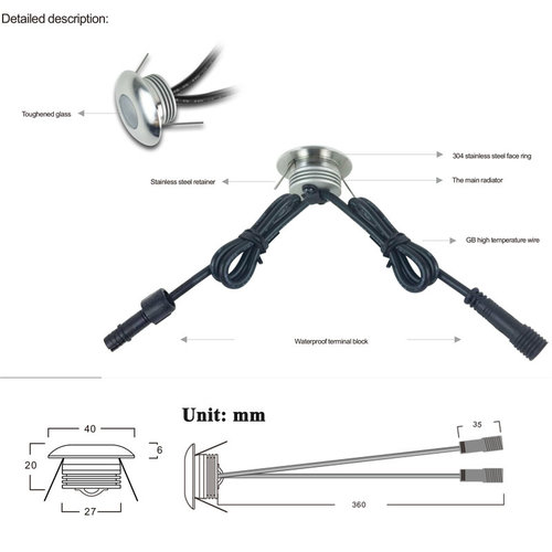 LED inbouwspot zaagmaat 30mm 1W IP67 dimbaar