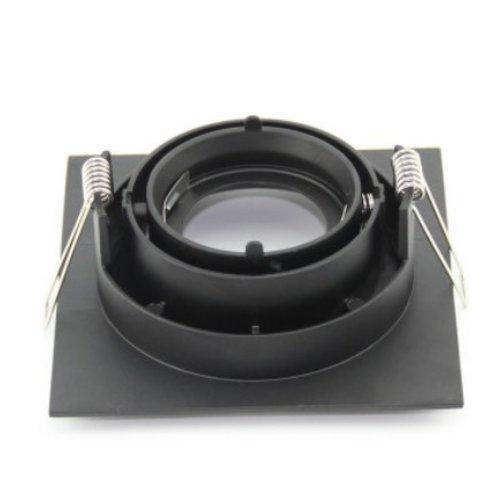 Vierkante inbouwspot zwart GU10 design 110x110m