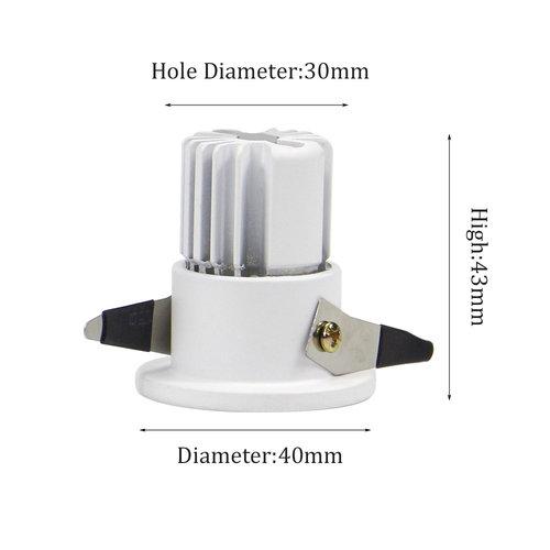 inbouwspot mini 30mm zaagmaat 3W wit of zwart