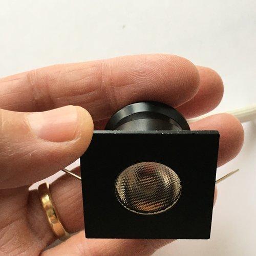 Mini inbouwspot zwart vierkant 4W dimbaar zaagmaat 30mm