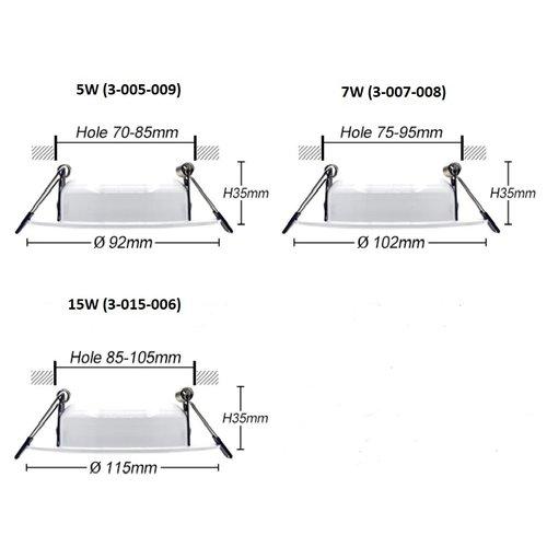 LED spot 65mm zaagmaat 5W dimbaar 35mm hoog