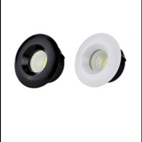 Inbouwspot diameter 50mm 5W LED wit of zwart 22mm hoog