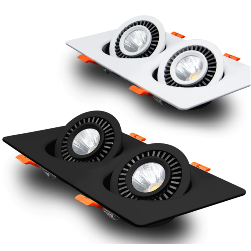 Dubbele inbouwspot 2x7W LED lage inbouwdiepte kantelbaar