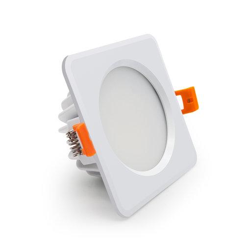 Inbouwspot buiten 220V wit LED 7W vierkant zaagmaat 75mm