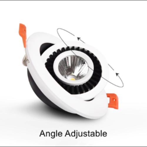 Inbouwspot boorgat 90 mm LED 10W kantelbaar wit of zwart