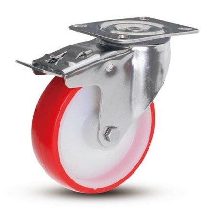 Rostfria hjul med PU-bandage