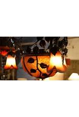 Noverdy Art de France Lamp Kroonluchter pate de verre fer force smeedijzer