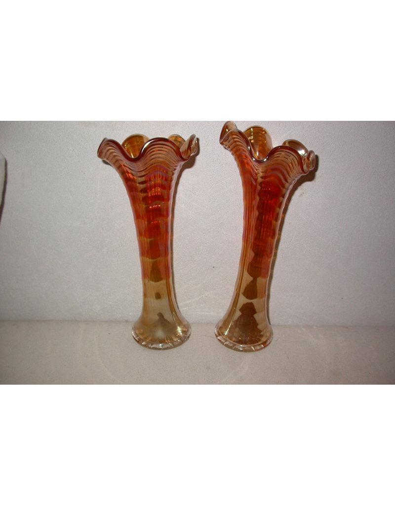 Imperial Carnival glas vaasjes Imperial 22 cm Marigold Ripple Carnival Glass