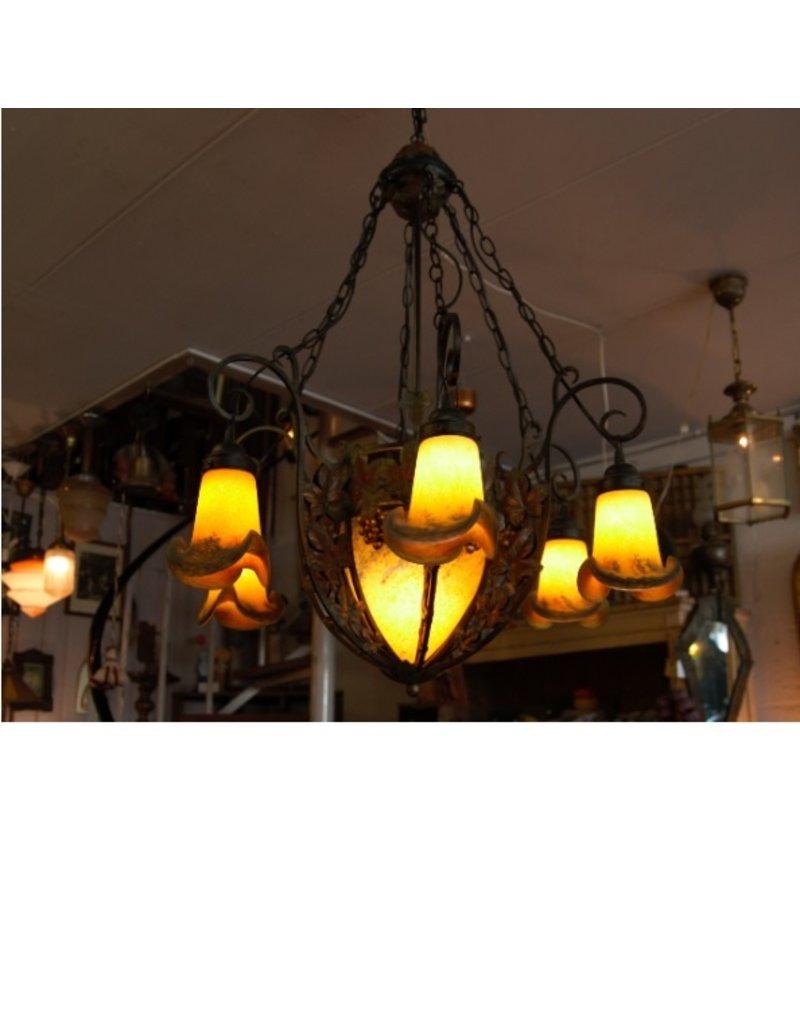 Noverdy Art de France Pate de verre  fer force kroonluchter lamp goudgeel zes kapjes