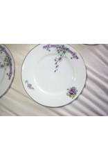 Gebakstel met 9 bordjes paarse bloemen