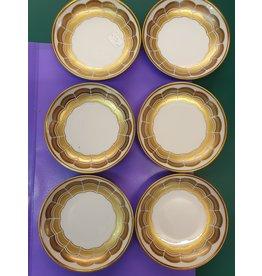 Hutschenreuter Petit foures schaaltjes wit gouden biezen set van zes