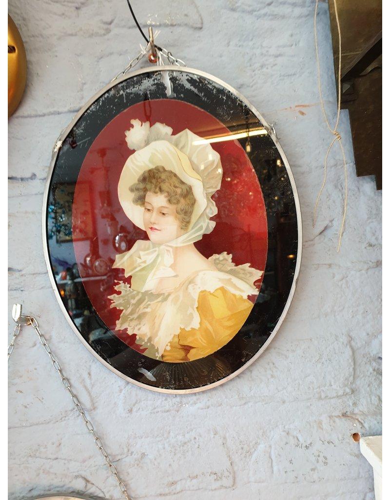 Achter glas schildering meisjes 27x 22 cm ovaal prijs per stuk