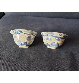 Rijstwijnkommetje Chinees of apans blauw Chinese klapmuts