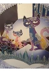 Groot Batik schilderij poezen  in paars blauwe kleuren