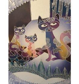 Groot Batik schilderij poezen