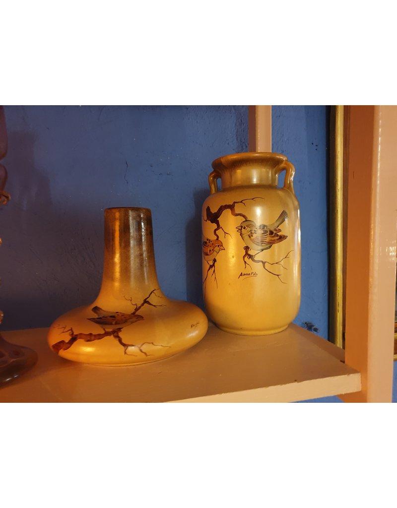 Stel plateel vazen met musjes in mooie aarde kleuren