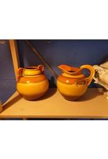 Mosa plateel vaas en kan  oranje geel