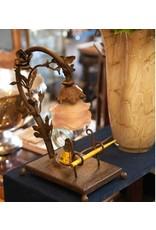 Prachtig ouf  jugendstil - art nouveau bureau lampje met roos en  inkt- pen houder