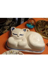 Grappige stenen poezen pudding vorm wit blauw randje