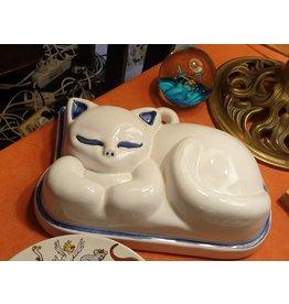 Stenen poezen pudding vorm wit blauw randje