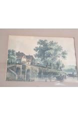 Aquarel dorp bij rivier 19e eeuw?
