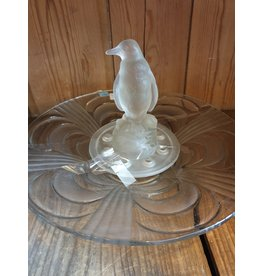 Libochovice art deco frosted glass penguin flower frog figure