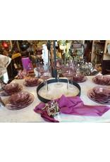 Paarse dessert schaaltjes op schotel pers glas art deco 6st