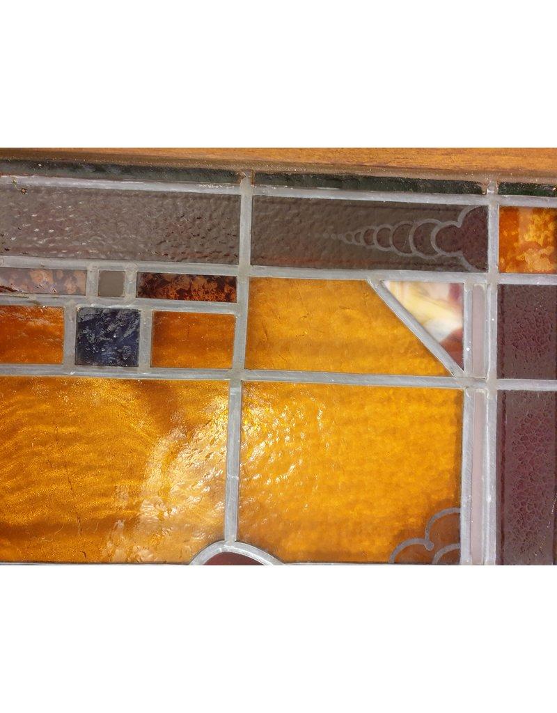 art deco glas en lood voorzetramen gebrandschilderd  102x50x3cm