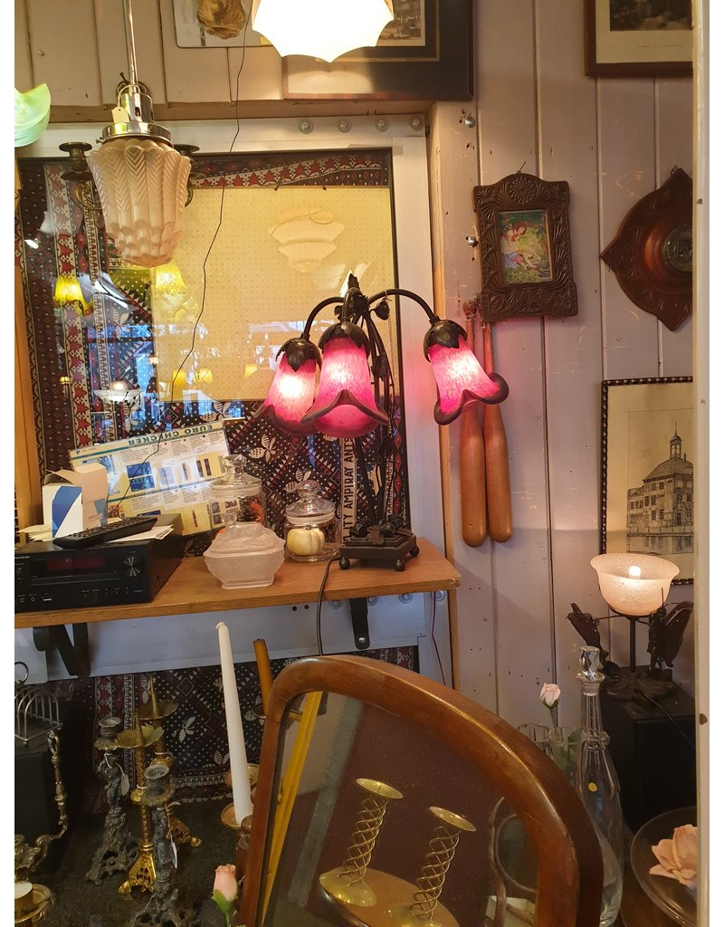 Glaspasta pate de verre tulpen tafellamp oranje rood