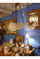 Vintage lamp 3 armen met hortensia's persglas