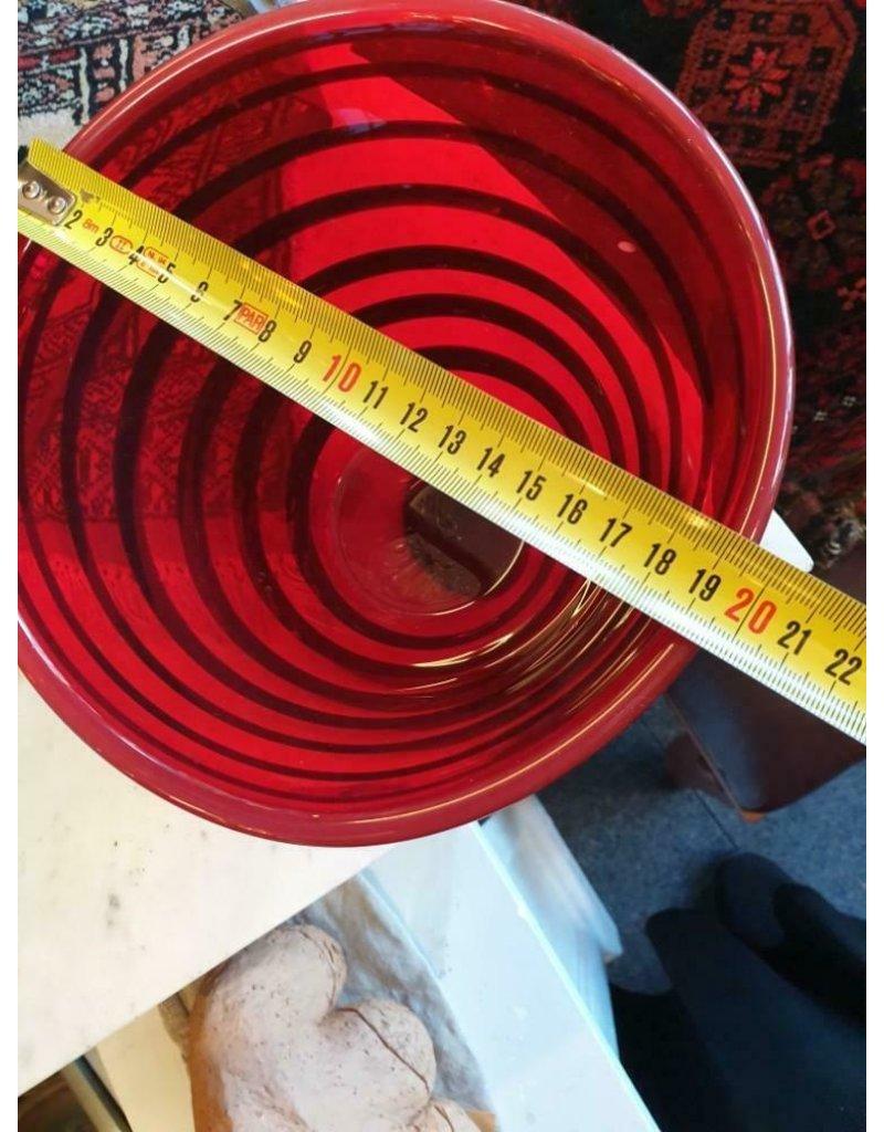 rood zwart glas vaas vintage met swirl