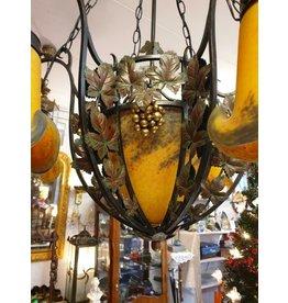 Noverdy Art de France Een pate de verre  fer force  kroonluchter lamp goudgeel zes kapjes