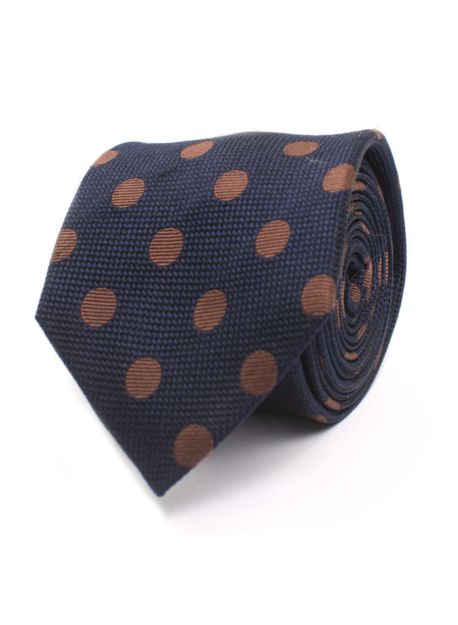 Tresanti Stropdas Silk Navy with Brown Dots